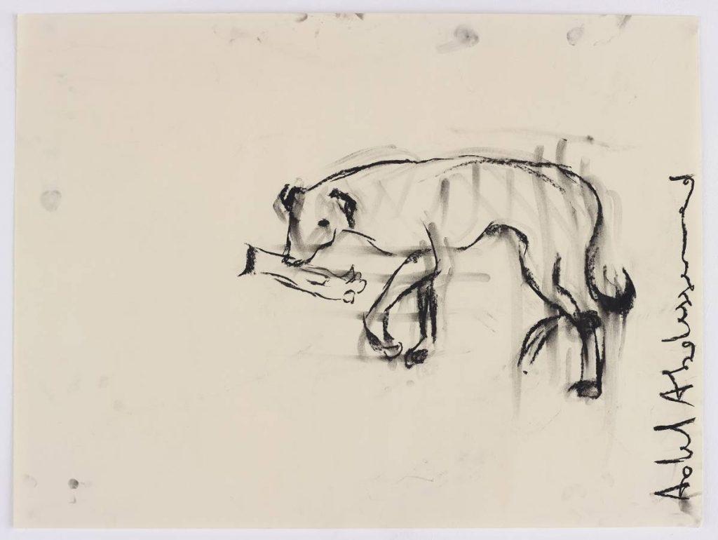 Adel Abdessemed, Personne, 2014, black stone on paper, 60 x 80 cm, unique