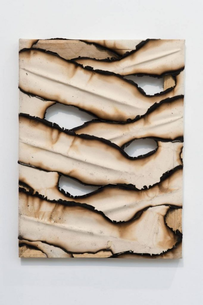Ariel Schlesinger, Untitled (Burnt Canvas), 2016, Burnt canvas, 200 x 140 cm