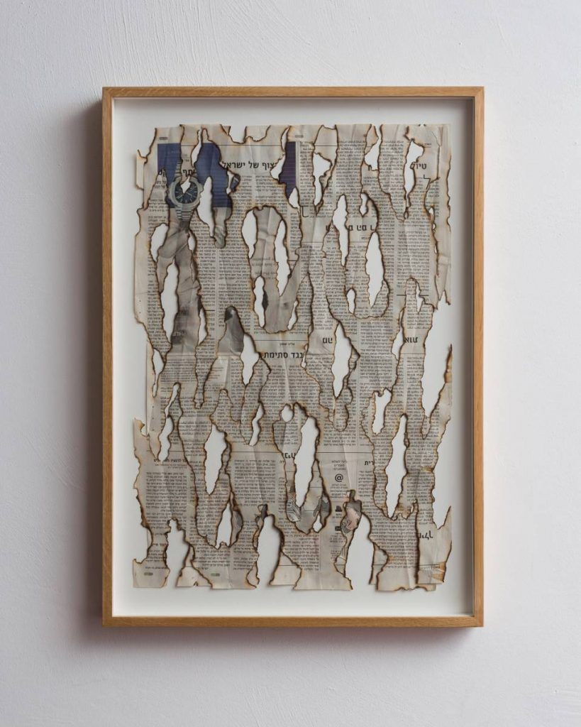 Ariel Schlesinger, (Untitled) Haaretz, 2015, burnt newspaper, 64.5 x 46 x 4 cm