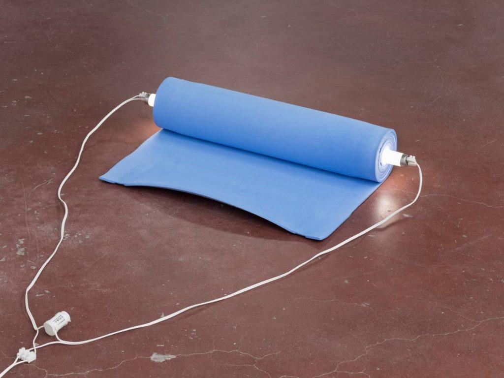 Barak Ravitz, Galilee (Roll), 2006, Camping mat, fluorescent lamp, 12 x 60 x 30 cm