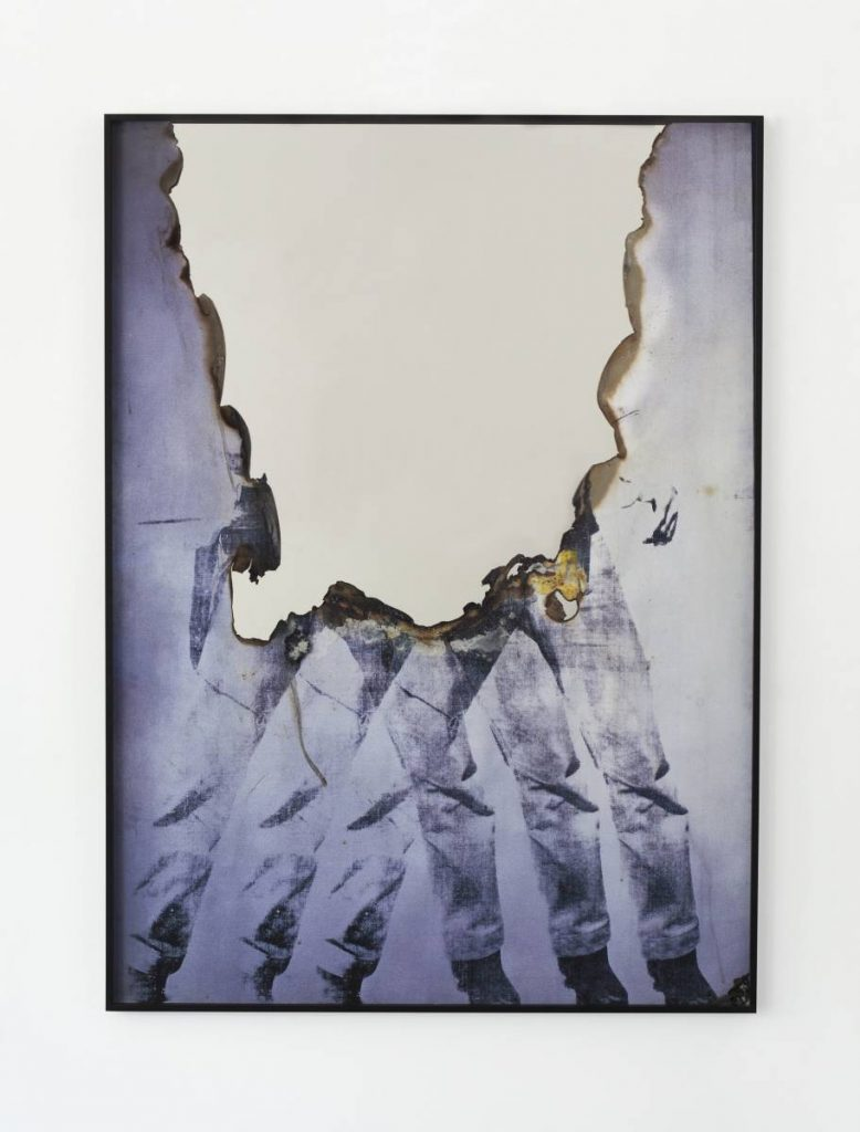 Douglas Gordon, Self Portrait of You + Me (Elv), 2015, burned print, smoke, mirror, 168.5 x 123 x 5 cm