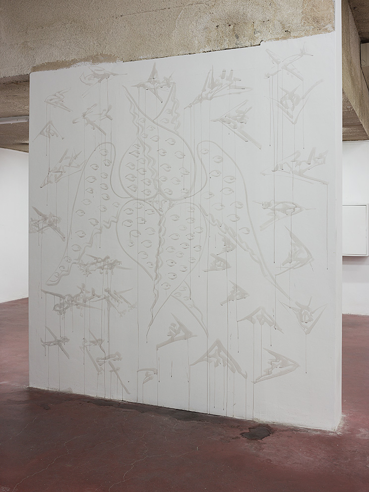 Mircea Cantor, Airplanes and Cherub, 2016, wine on wall, variable dimensions
