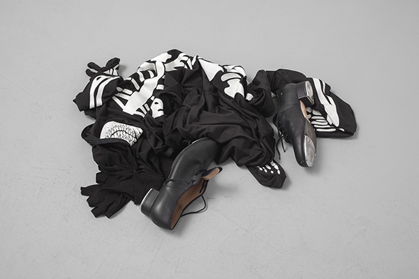 Latifa Echakhch, Untitled (Dancer), 2013, skeleton costume, tap shoes, 60 cm diam