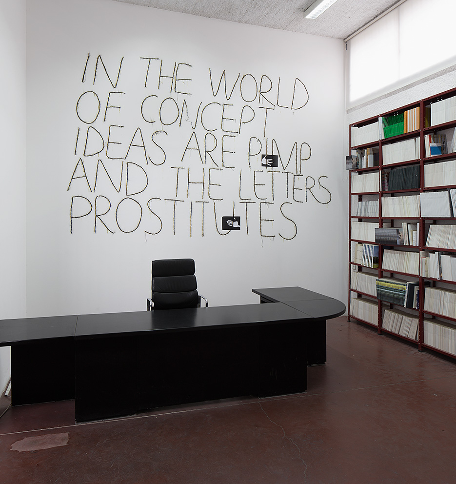 Mircea Cantor, In the world of concept, ideas are pimp and the letters prostitutes, 2016, wall drawing made out of dynamite blasting caps, paper, artist's hands, dimensions variable