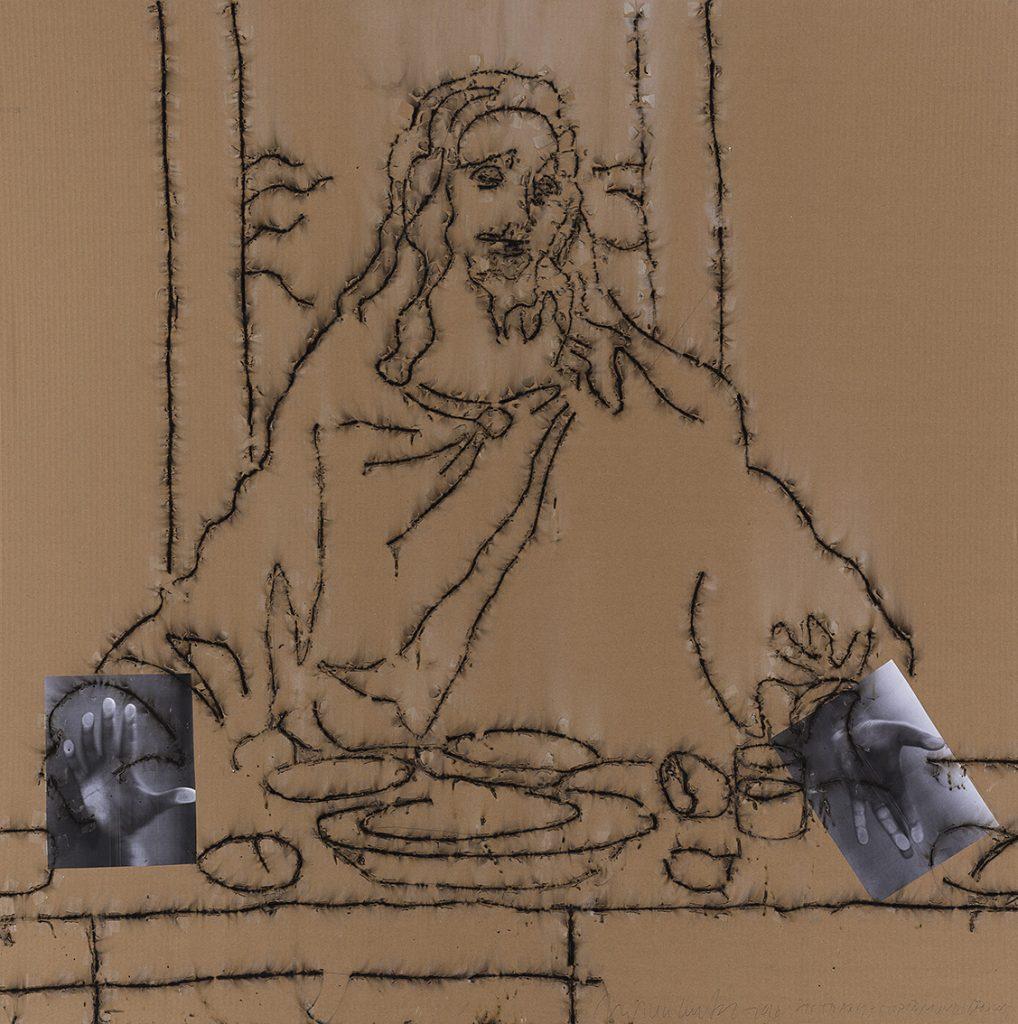 Mircea Cantor, Sic Transit Gloria Mundi (Yahweh), (detail), 2016, drawing made out of dynamite blasting caps, paper, artist's hands, cardboard, 130 x 80 cm