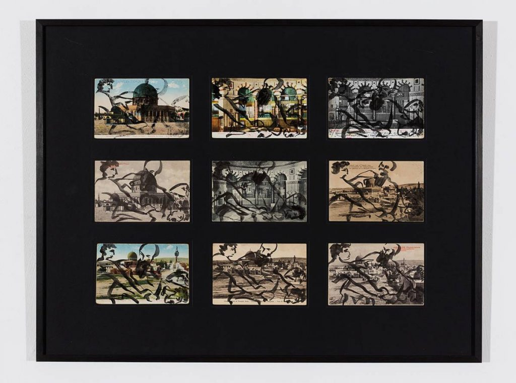 Mircea Cantor, The Sacrifice of Isaac (after Caravaggio), 2015, Japanese ink, postcards, 50 x 65 cm