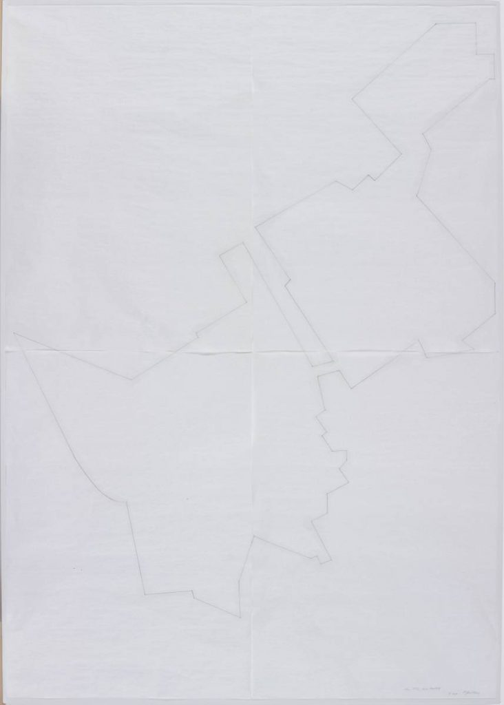 Miroslaw Balka, Otw. 1942 skin healing, 2015, pencil, myrth on blotting paper, 208 x 148 x 4 cm