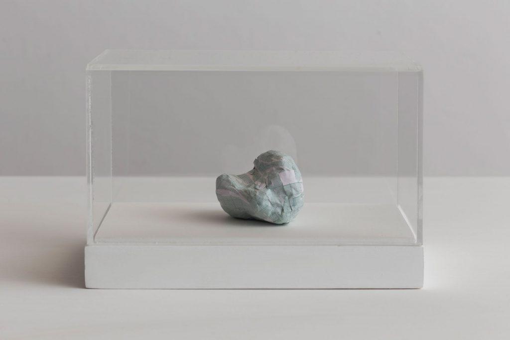 Shilpa Gupta, Untitled VII, 2016, graph paper in plexiglass vitrine, 20 x 29 x 17 cm, Unique