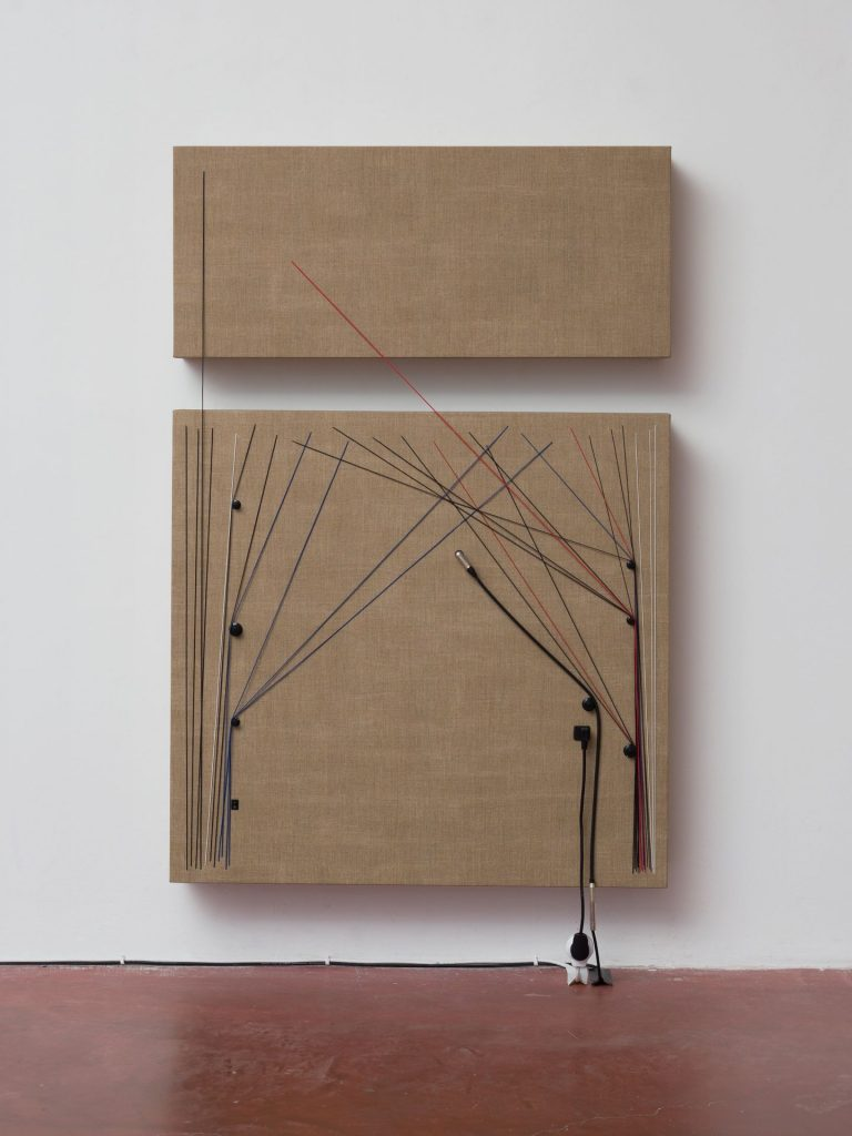 Naama Tsabar, Transition, 2016, Wood, canvas, electronics, cables, knobs, speakers, 154x103.5x16.5cm, Unique