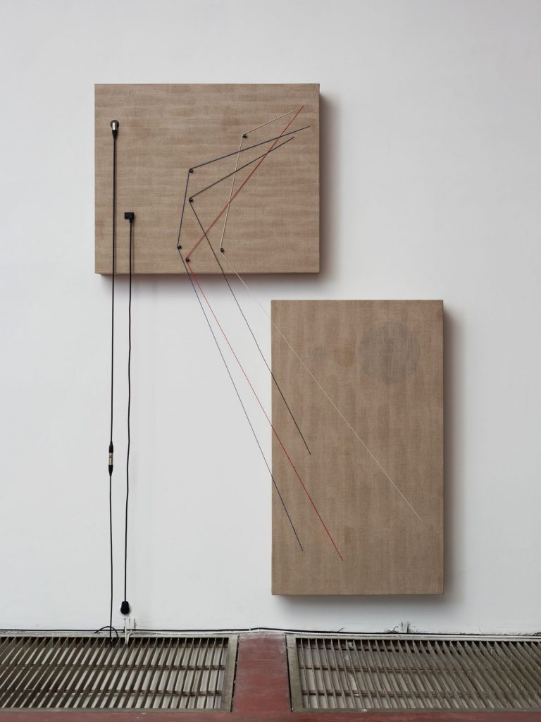 Naama Tsabar, Transition, 2016, Wood, canvas, electronics, cables, knobs, speakers, 223x152x16.5cm, Unique