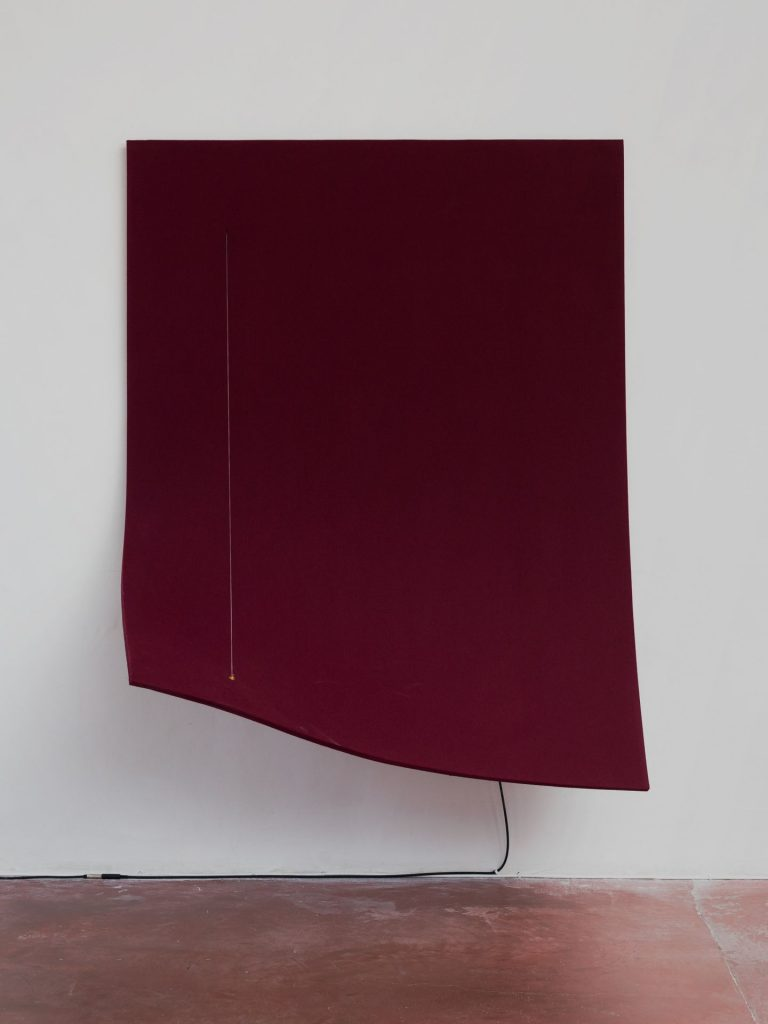 Naama Tsabar, Work On Felt (Variation 12), Burgandy, 2016, Carbon fiber, epoxy, wood, felt, microphone, guitar amplifier, 179x136.5x79cm, Unique