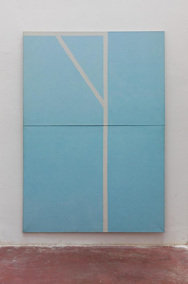 Michael Gross, Blue and white 1977, oil on canvas, 280 x 200 cm, unique
