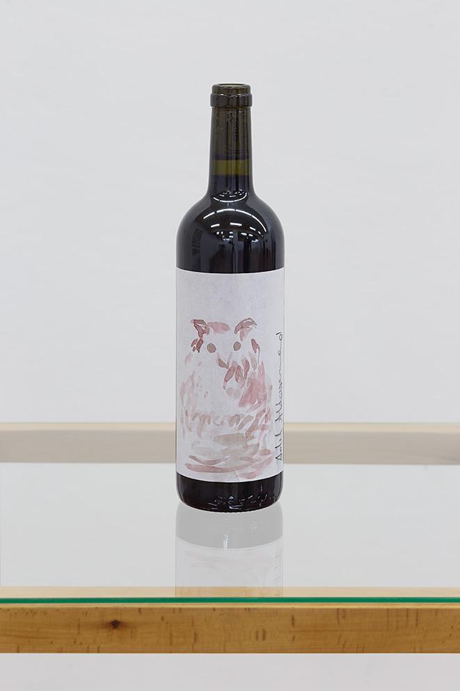 Adel Abdessemed, Mémoire du vent, 2017, wine bottle and wine on paper, unique