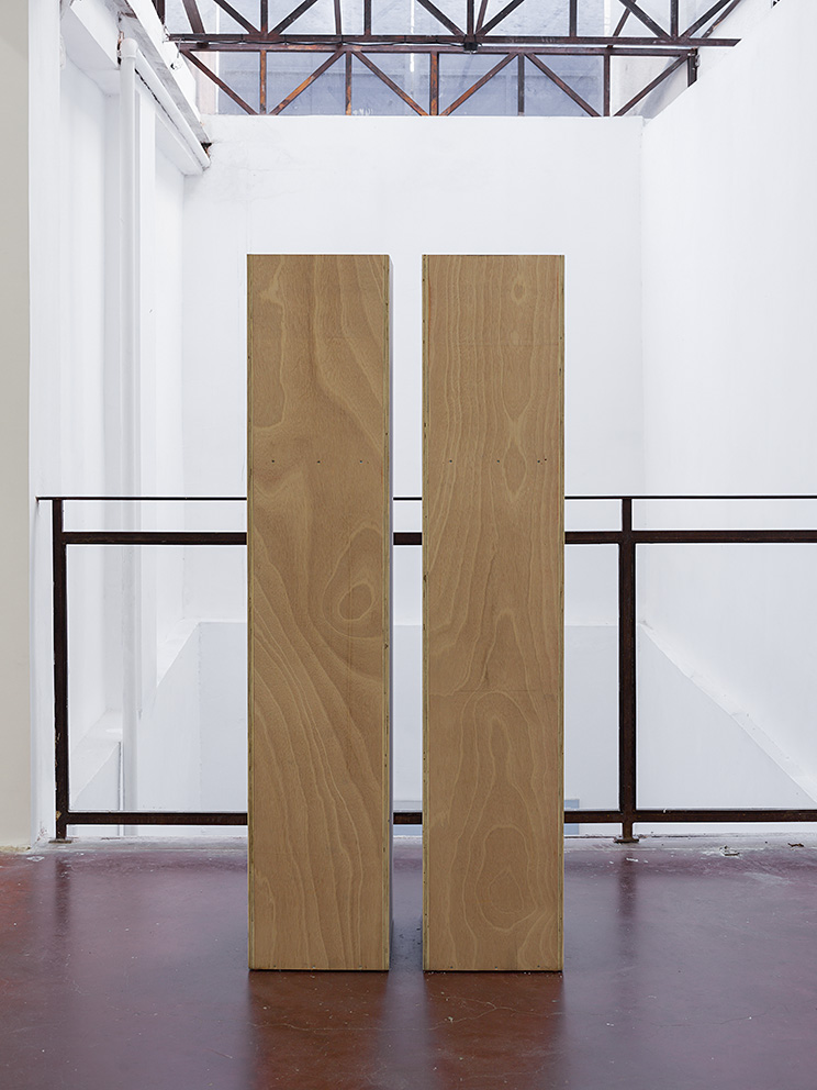 Miroslaw Balka, up to my eyes level talked into blindness, 2017, plywood, kitchen salt, 45 x 35 x 177 cm each, unique
