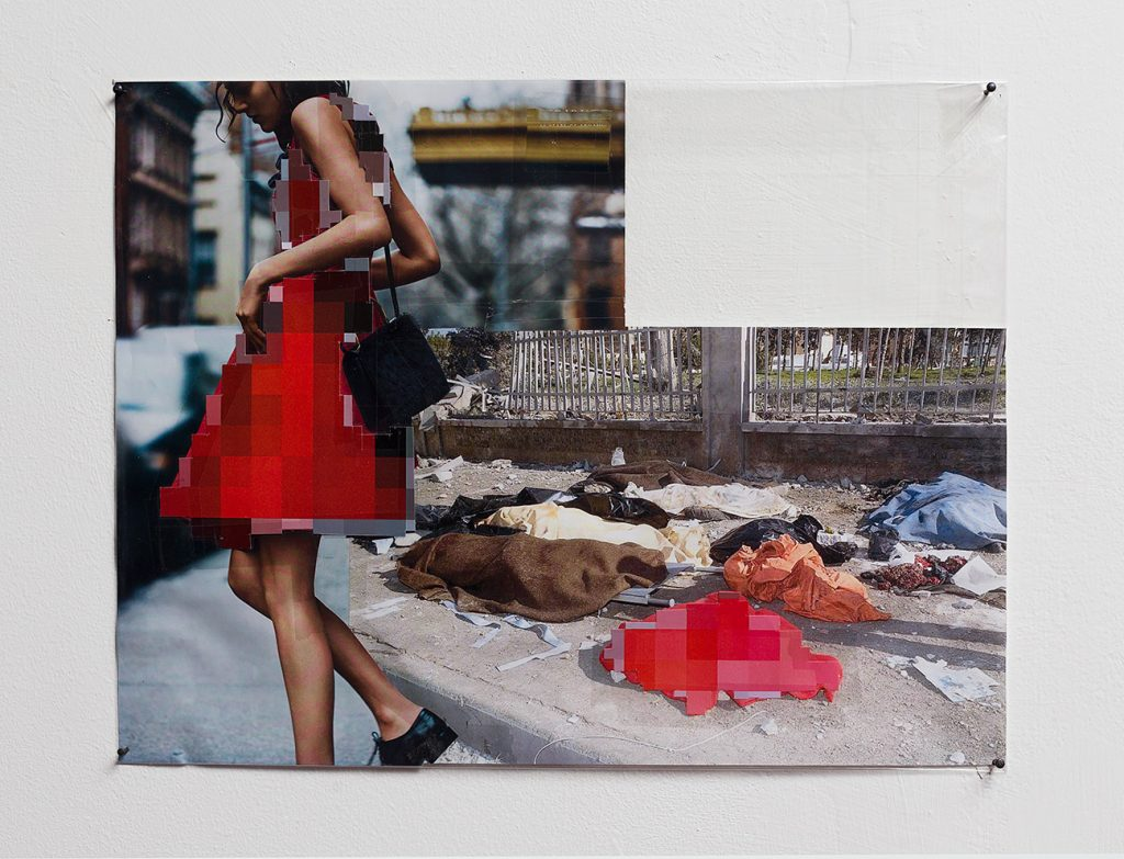 Thomas Hirschhorn, Pixel-Collage nº50, 2016, prints, tape, transparent sheet, 30 x 39 cm, unique