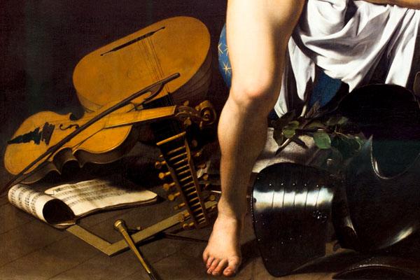 Yossi Breger, Love Conquers All (detail from Amor Vincit Omnia, Caravaggio, Rome, 1601-1602), Gemäldegalerie, Berlin, 2011, c-print, 39 x 60 cm, edition of 5