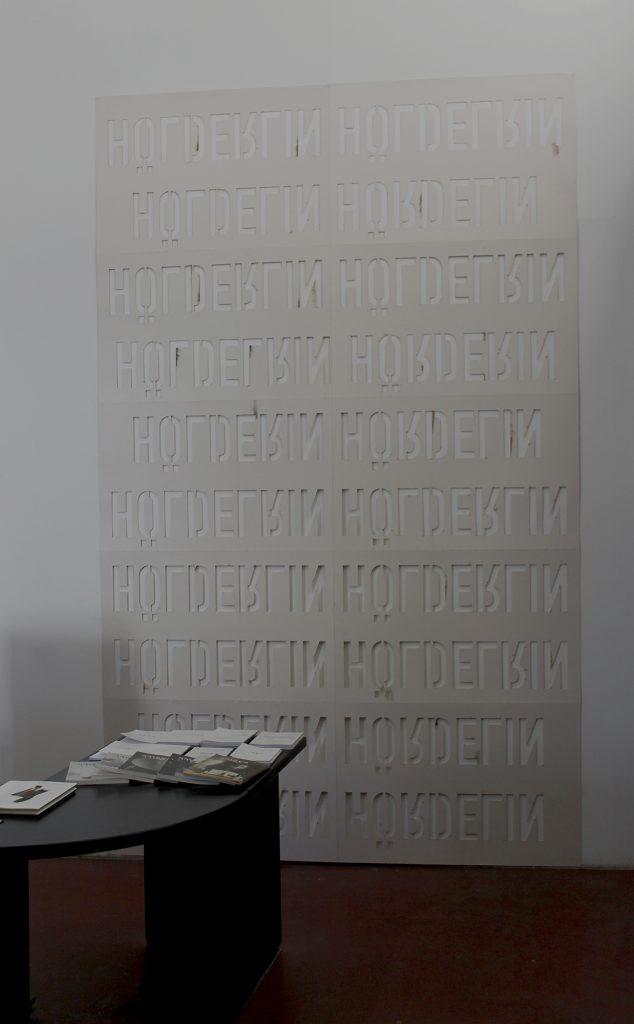 Miroslaw Balka, Hölderlin Hölderlin upside down, 2017, cardboard, cut letters, 298x180 cm, Unique2
