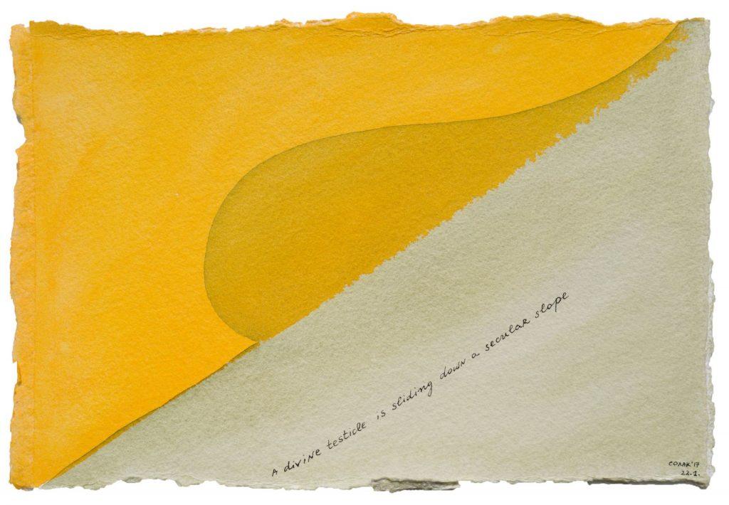 Nedko Solakov, Color Stories #100, 2016-2017, watercolour, black and white ink on paper, 19 x 28 cm, unique