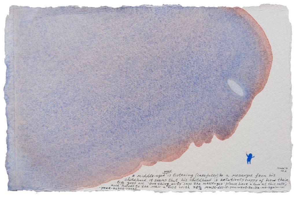 Nedko Solakov, Color Stories #93, 2016-2017, watercolour, black and white ink on paper, 19 x 28 cm, unique