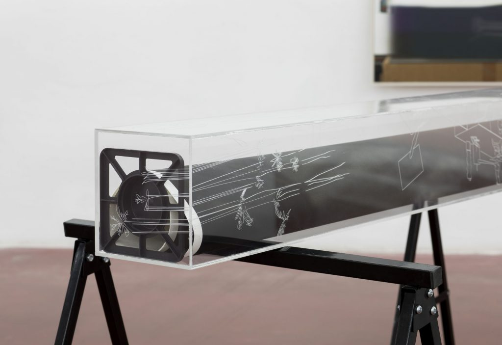 David Maljkovic, Yet to be titled (detail), 2016-2017, acrylic paint, plexiglas with laser engraving / inkjet print on paper painted with oil color, 158 x 17 x 17 cm, unique