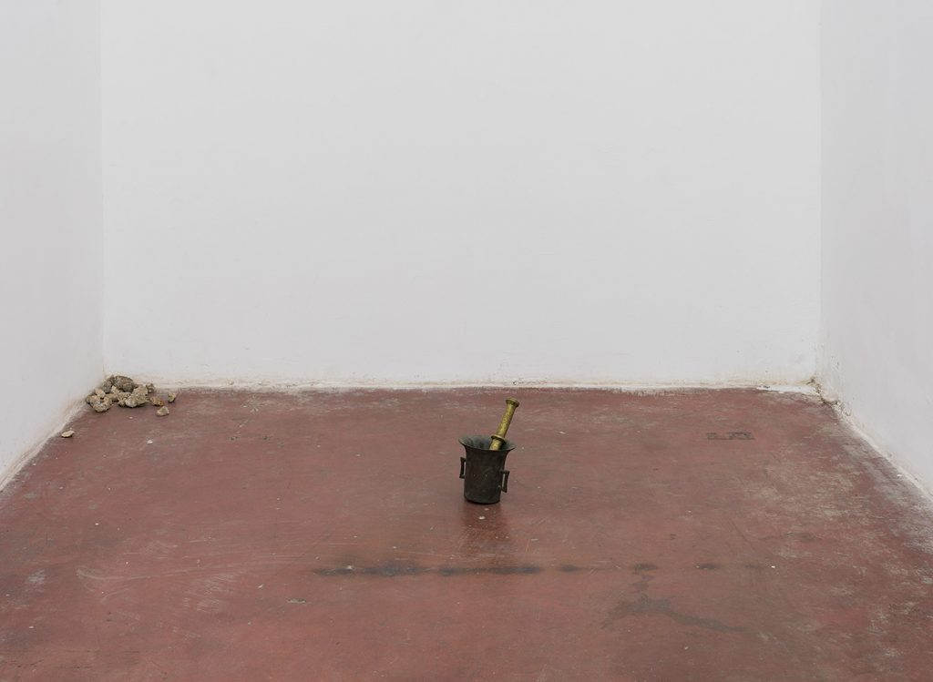 Latifa Echakhch, Returns of the day, 2017, metal mortar & pestle, stones, variable dimensions, Unique
