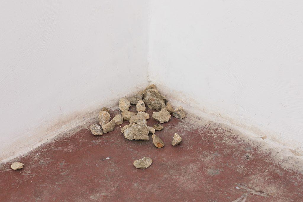 Latifa Echakhch, Returns of the day, 2017, metal mortar & pestle, stones, variable dimensions, Unique (detail)