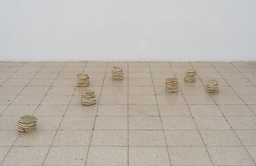Latifa Echakhch, Untitled, 2017, pita, cement, variable dimensions, Unique