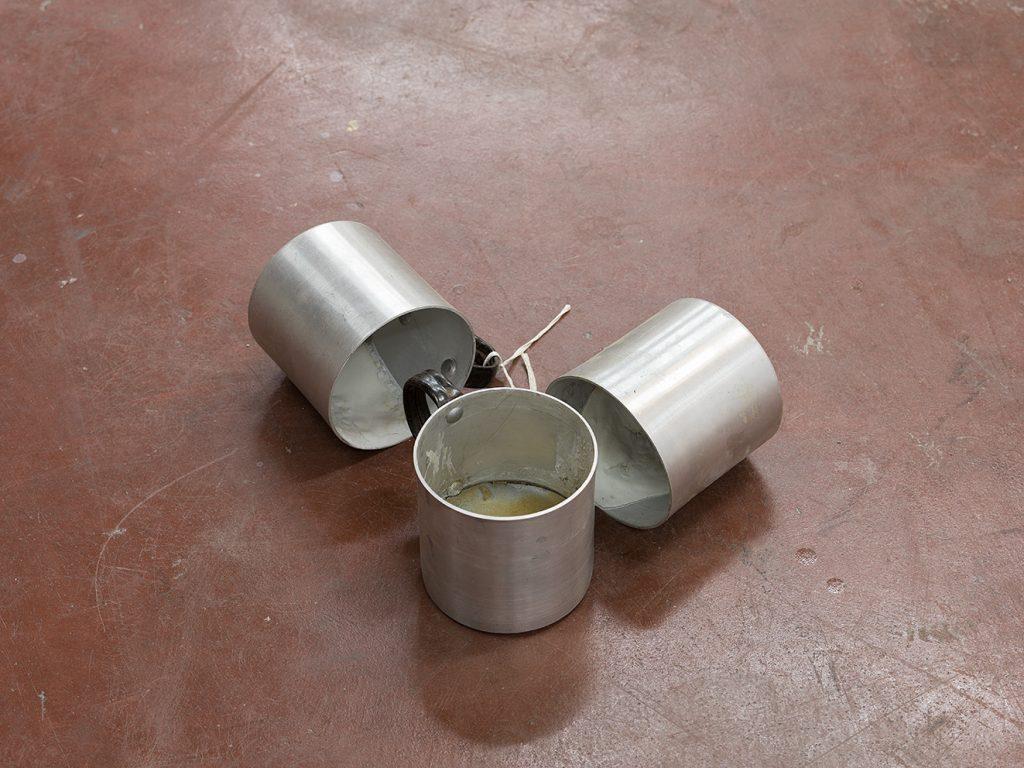Latifa Echakhch, Untitled (cups), 2017, aluminum cups, cement, variable dimensions, Unique