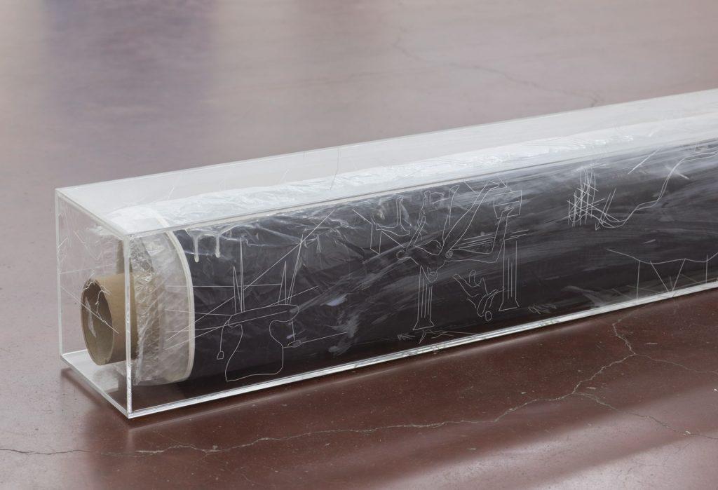David Maljkovic, Yet to be titled (detail), 2016, 2017, plexiglas, laser engraving / inkjet print on cotton canvas, 158 x 17 x 17 cm, unique