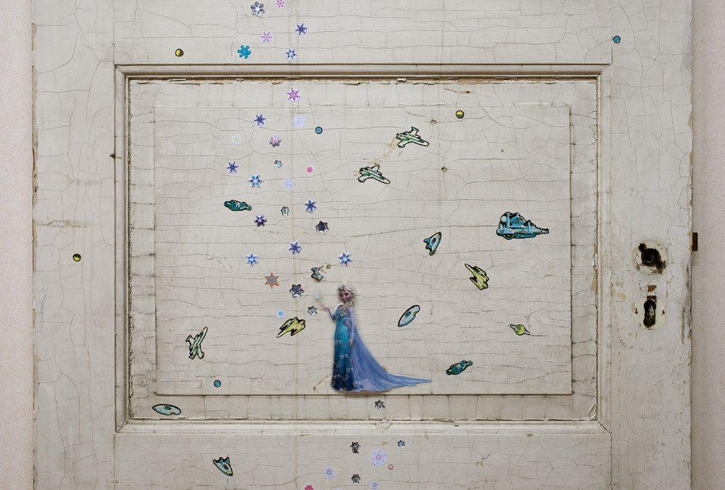 Simon Fujiwara, Frozen (detail), 2017, Reclaimed Children s bedroom door