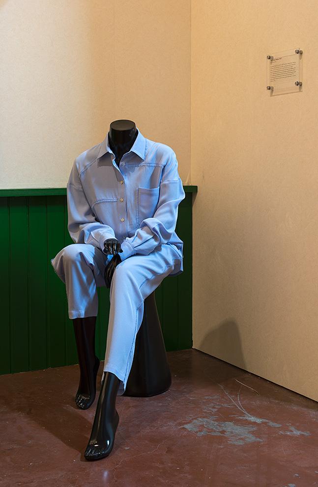 Simon Fujiwara, What Beyoncé wore to the Anne Frank House, 2017, handmade reproduction of Topshop Unique fray trouser suit, 40 x 88 x 115 cm, unique + 1 AP