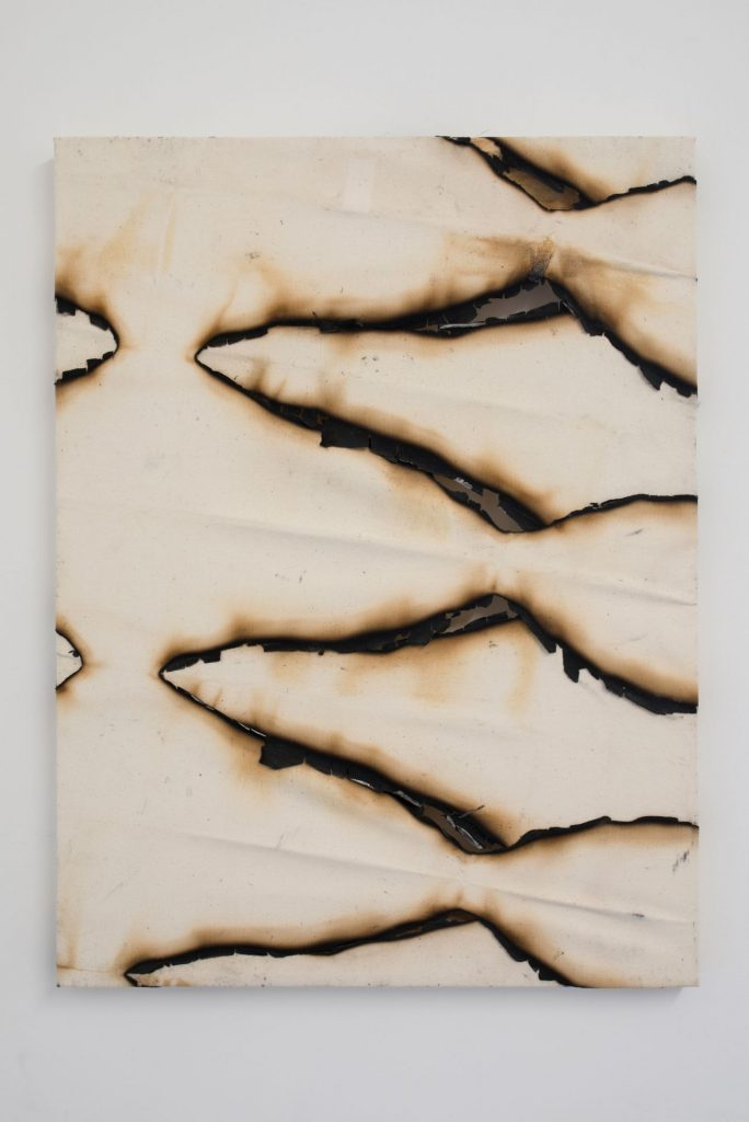 Ariel Schlesinger, Untitled Canvas II, 2016, burned canvas, 60 x 40 cm, unique