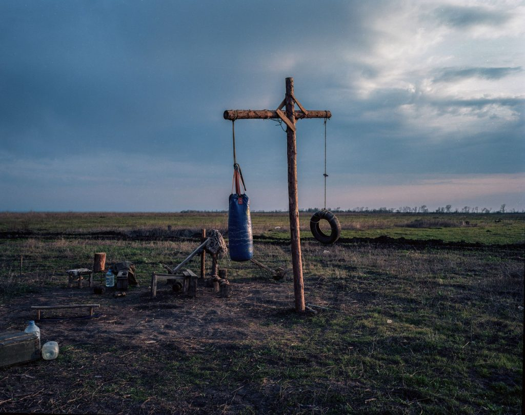 Pavel Wolberg, Makeshift training gym for soldiers, East Ukraine, 2017, (with margin), inkjet print, 160 x 130 cm, edition of 3 + 1 AP