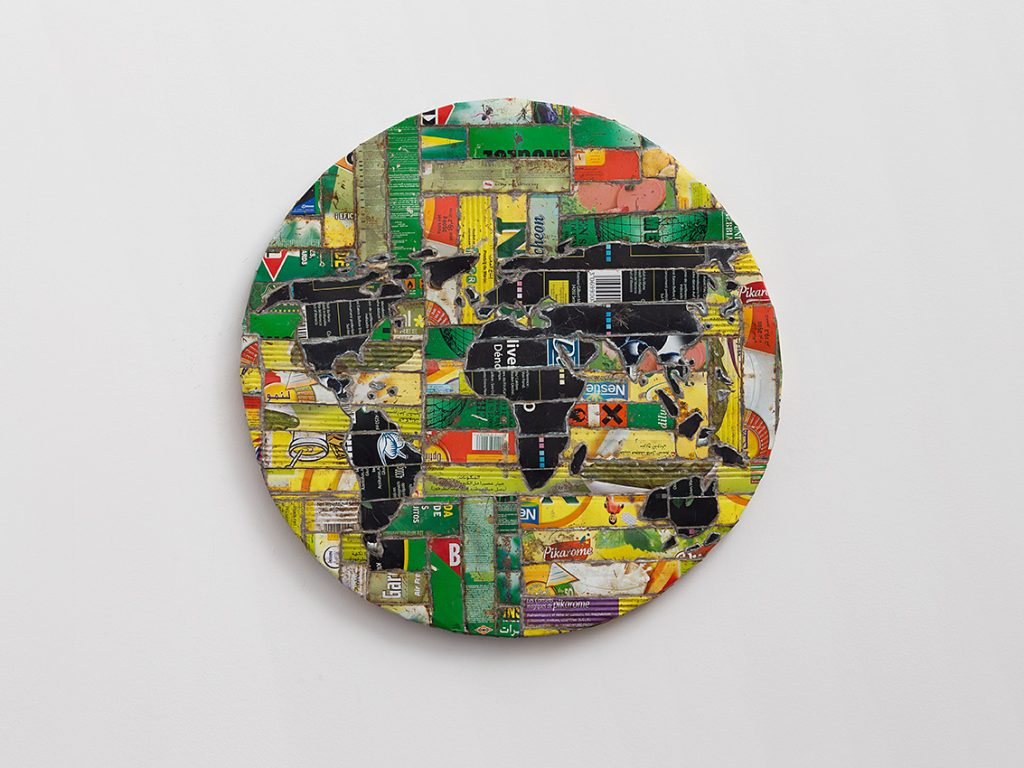 Adel Abdessemed, Mappemonde, 2010, printed steel, 60.5 cm ø x 3.5 cm, unique
