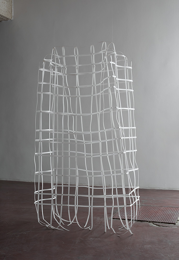 Miroslaw Balka, 190 x 120 x 60, 2012, plastic strips, steel staples, 190 x 120 x 60 cm, unique