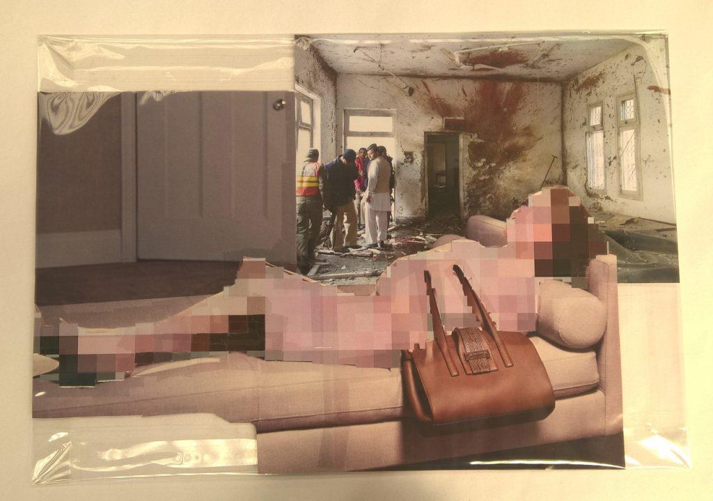 Thomas Hirschhorn, Pixel-Collage nº51, 2016, prints, tape, transparent sheet, 33,5 x 48 cm, unique