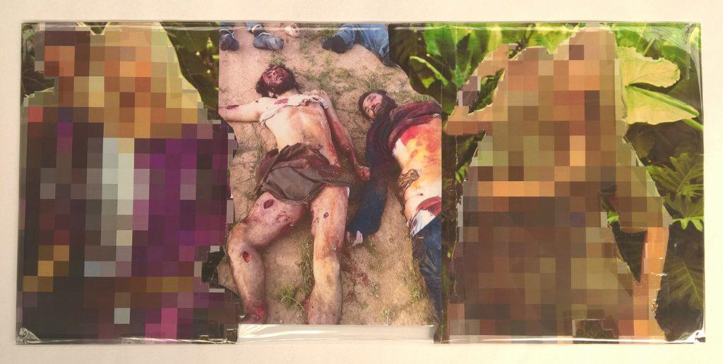 Thomas Hirschhorn, Pixel-Collage nº54, 2016, prints, tape, transparent sheet, 28.5 x 61 cm, unique