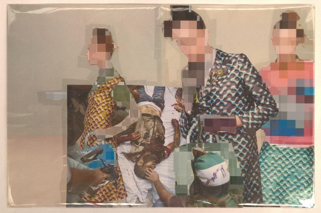 Thomas Hirschhorn, Pixel-Collage nº63, 2016, prints, tape, transparent sheet, 33 x 50.5 cm, unique