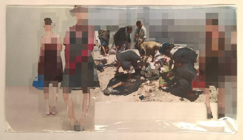 Thomas Hirschhorn, Pixel-Collage nº66, 2016, prints, tape, transparent sheet, 28 x 50,5 cm, unique