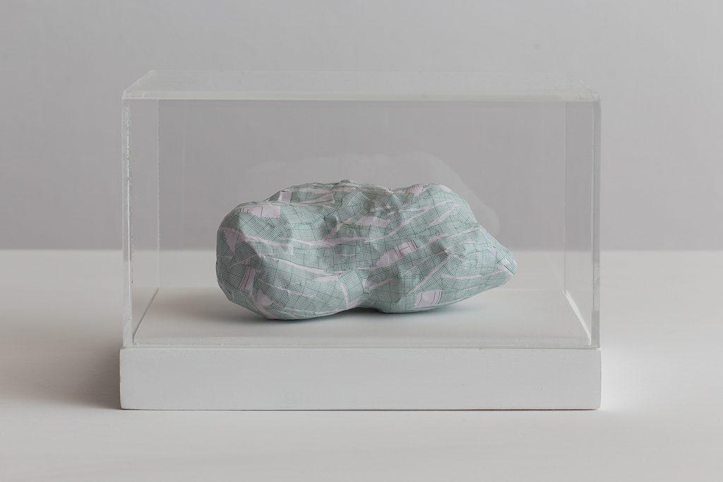 Shilpa Gupta, Untitled II, 2016, graph paper in plexiglass vitrine,  20 x 29 x 17 cm, unique