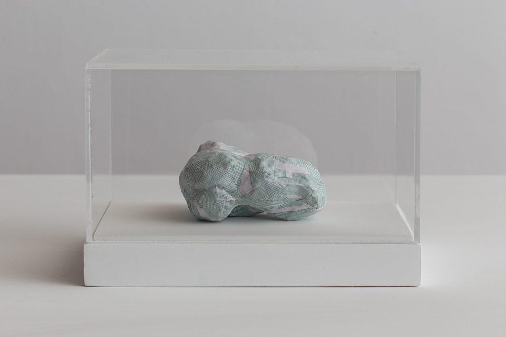 Shilpa Gupta, Untitled III, 2016, 2016, graph paper in plexiglass vitrine, 20 x 29 x 17 cm, unique