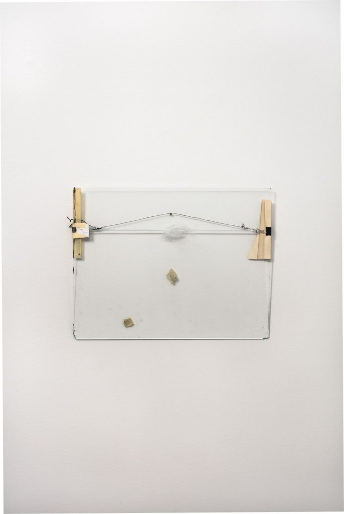 Nahum Tevet, Untitled #13, 1974 /2016, 49.4 x 37.1 x 1.1 cm, paper, metal clips, wire, masking tape, transparent tape, marker and wax pencil on glass, unique