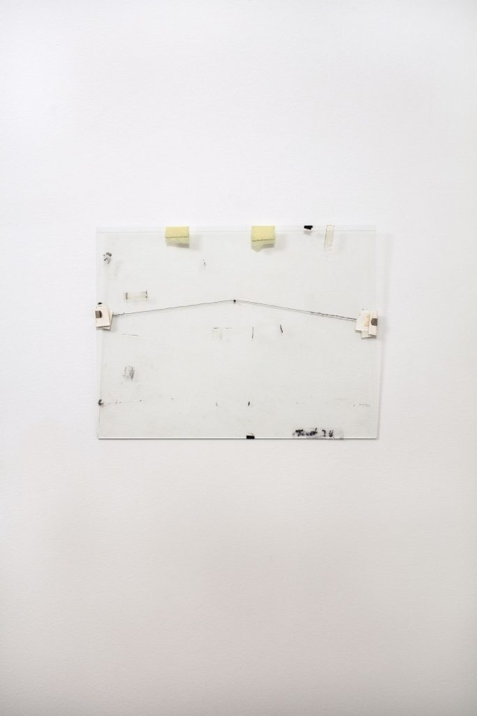 Nahum Tevet, Untitled #20, 1975 /2016, Reconstructed by the artist, 34.3 x 44.5 x 1.1 cm, paper, wire, transparent tape, masking tape, wax pencil, and marker on glass, unique