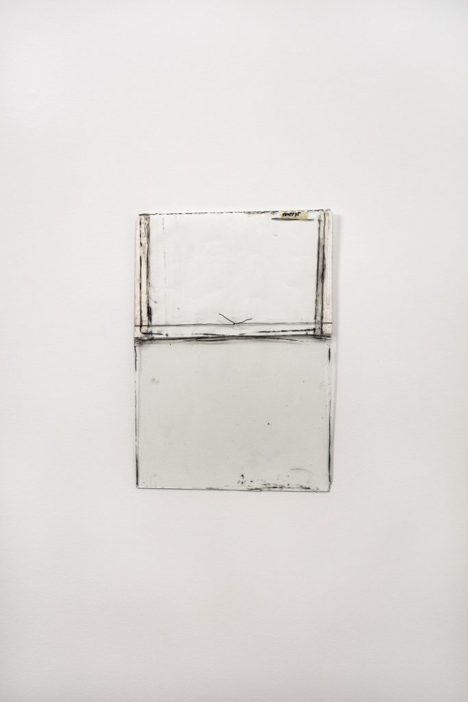 Nahum Tevet, Untitled #27, 1975/2016, Reconstructed by the artist, 45.5 x 32.4 x 1.1 cm, paper, wire, transparent tape, masking tape, wax pencil, and marker on glass, unique