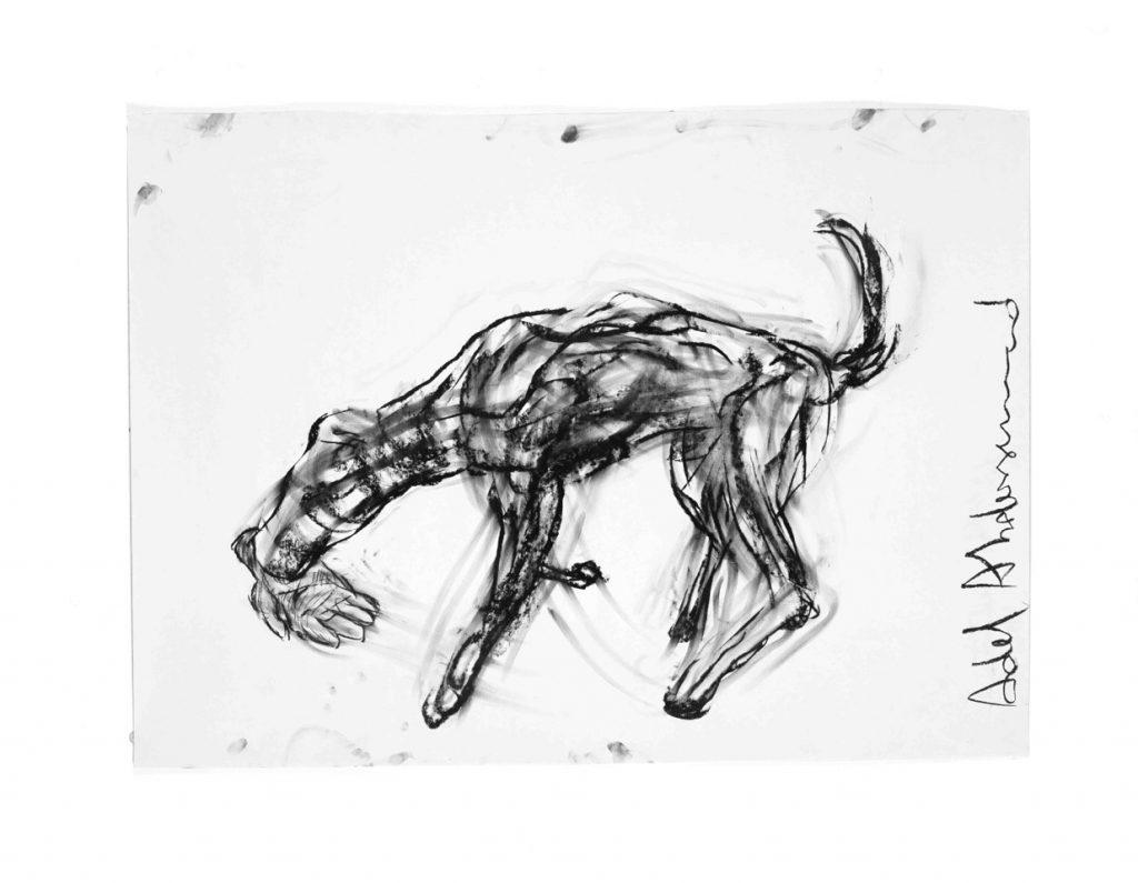 Adel Abdessemed, Personne, 2014, black stone on paper, 104 x 143 cm, unique