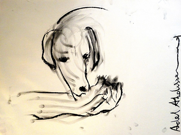 Adel Abdessemed, Personne, 2014, black stone on paper, 70 x 90 x 4.5 cm, unique