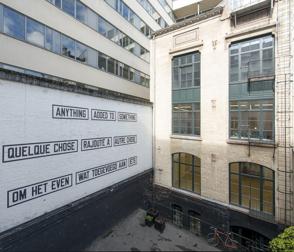 Lawrence Weiner, Anything added to somehting, 2009, language + the materials referred to, variable dimensions, unique