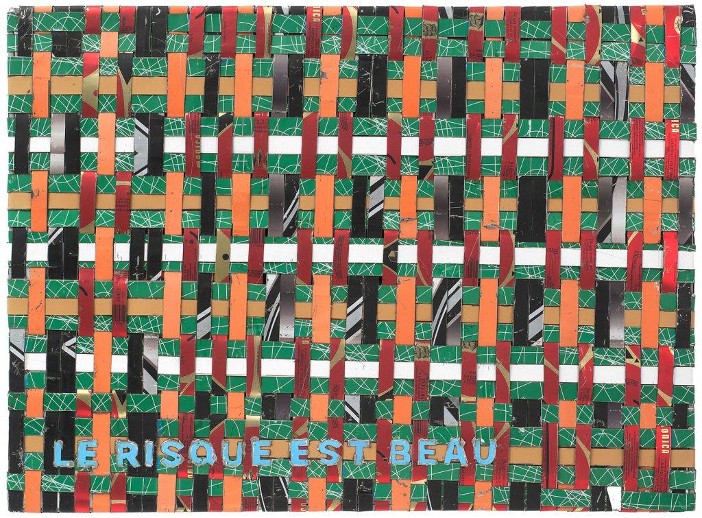 Adel Abdessemed, Cocorico painting, Le risque est beau, 2017-2018, recycled printed metal, 42.5 x 57.5 x 3.5 cm, unique