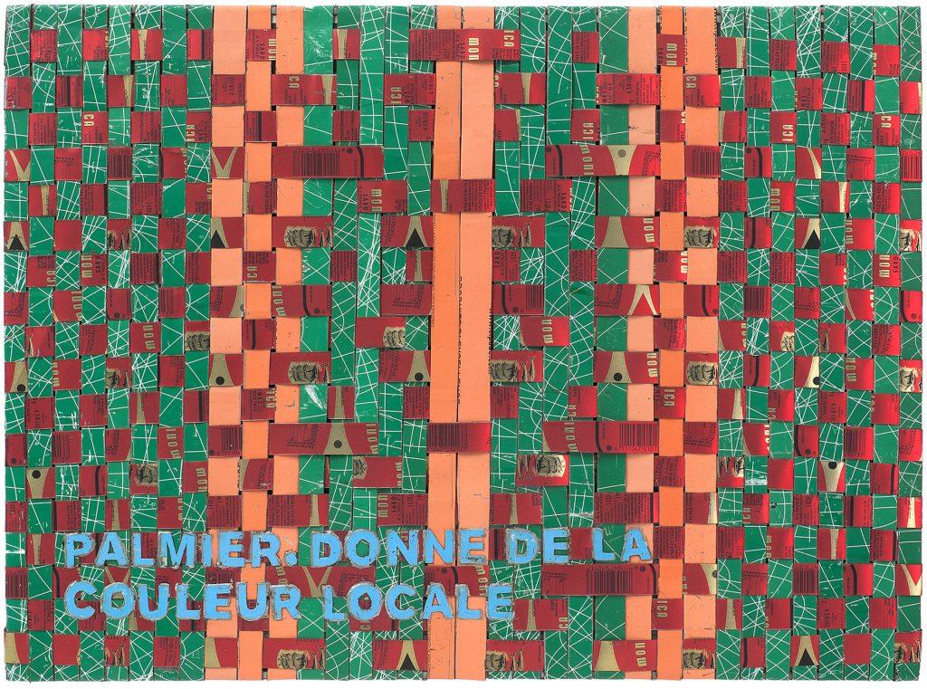 Adel Abdessemed, Cocorico painting, Palmier. Donne de la couleur locale, 2017-2018, recycled printed metal,  57 x 42.5 x 3.5 cm, unique