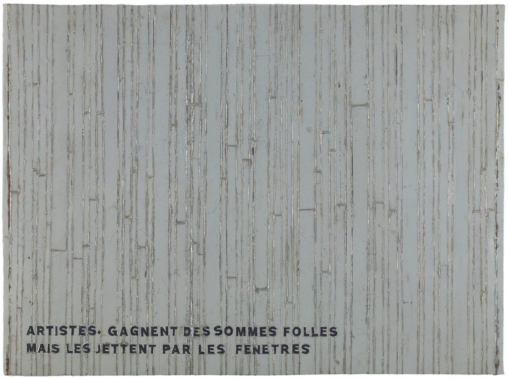 Adel Abdessemed, Cocorico painting, Artistes. Gagnent des sommes folles mais les jettent par les fenêtres, 2017-2018, recycled printed metal, 85 x 115 x 3.5 cm, unique